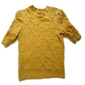 Free People Gold Quilted Half Sleeved Sweater S